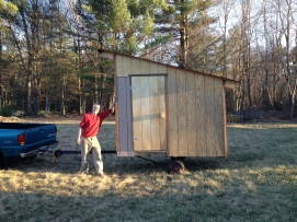 Jim finished building the chicken tractor, a coop on wheels, that spreads the fertilizer wealth around